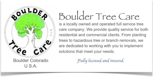 Locally owned and operated tree service for Boulder, Colorado.